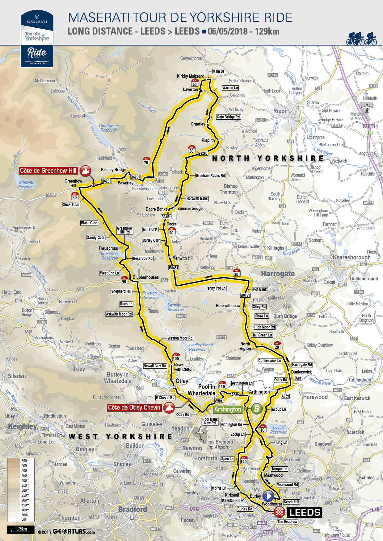 Maserati Tour de Yorkshire Ride - Route 2018